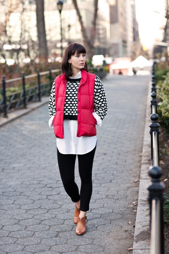 Polka dot sweater and puffer vest