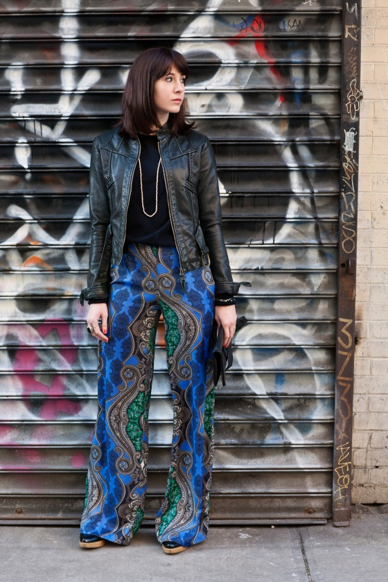 Palazzo pants, leather jacket