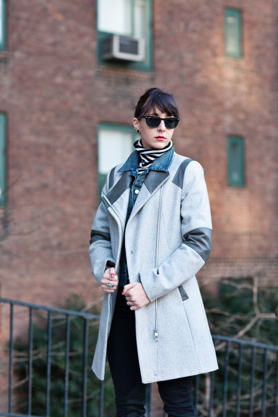 Calvin Klein coat, Winter layering, Ray-Ban Wayfarers