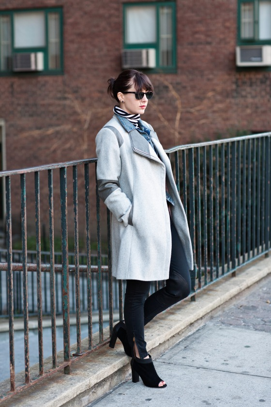 Winter layering tips, J. Crew pants, Striped Turtleneck