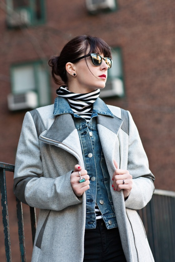 Calvin Klein coat, Winter Layering Tips, denim jacket