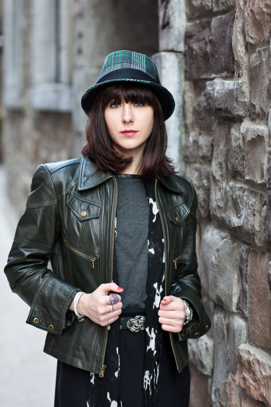 Fedora, leather jacket