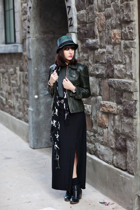 Fedora, Leather Jacket, Maxi Skirt
