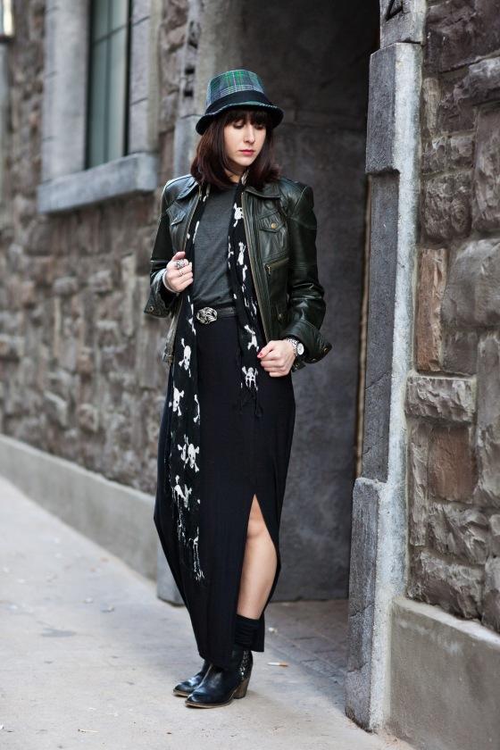 maxi skirt, skull scarf, vintage belt