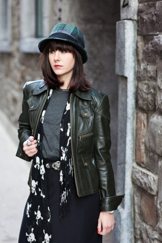 Lydia Hudgens photography, plaid fedora, leather jacket