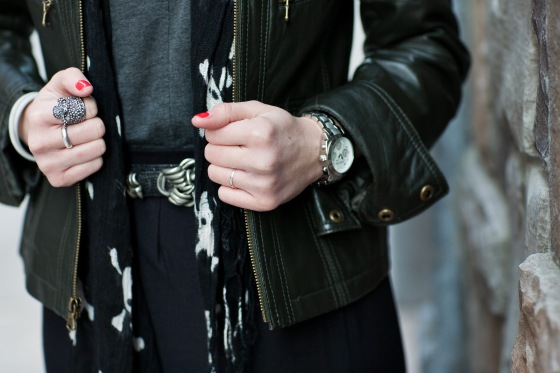 vintage belt, michael kors watch, leather jacket