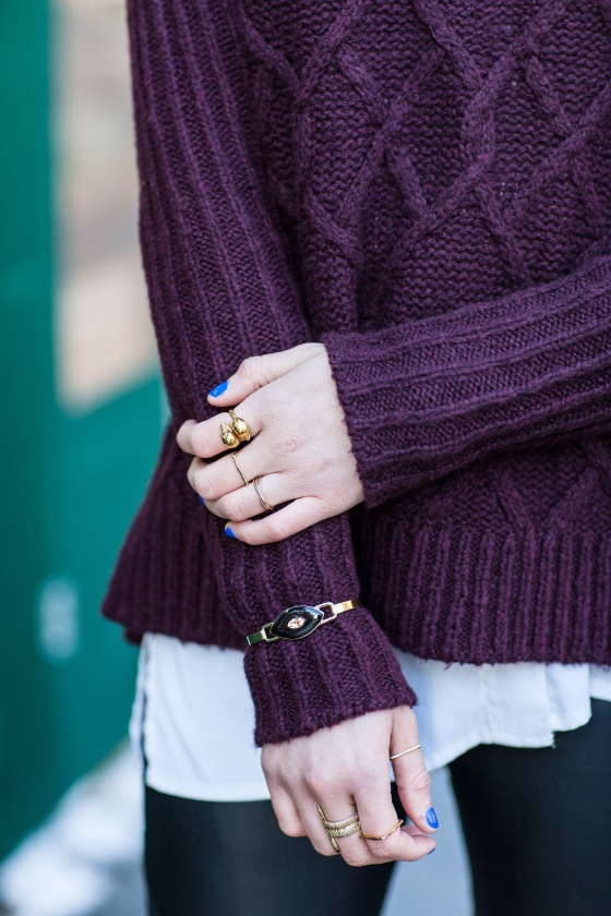 Winter layers, Fisherman sweater, Alexander McQueen ring