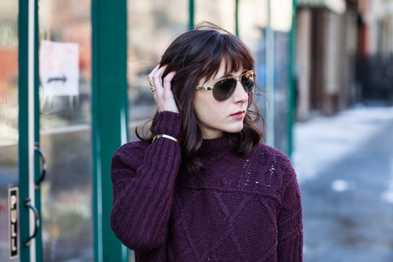 Fashion blog, Ralph Lauren aviators, Burgundy sweater