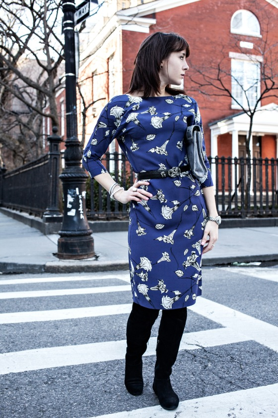 T. Babaton dress, vintage belt, Calvin Klein boots