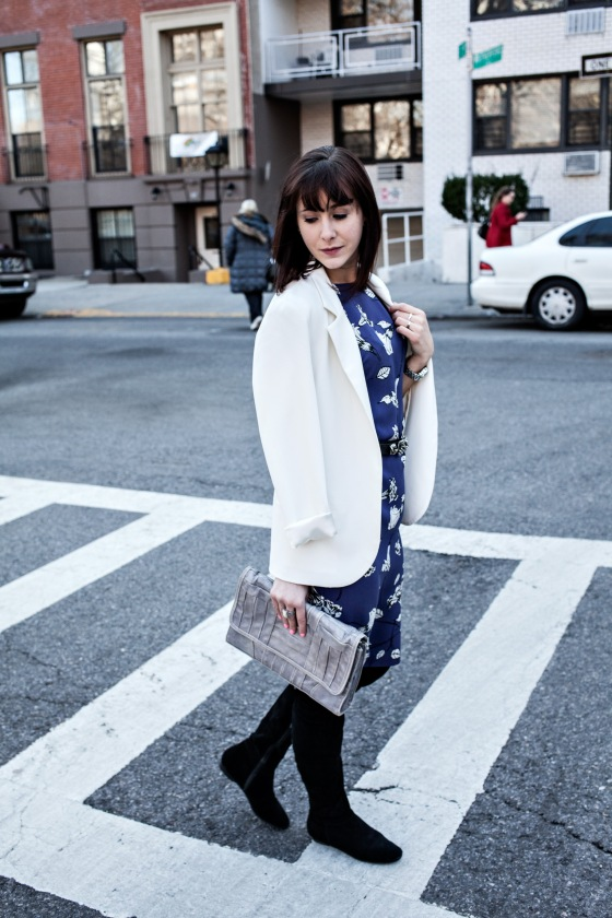 T. Babaton dress, Calvin Klein boots, Urban Outfitters blazer