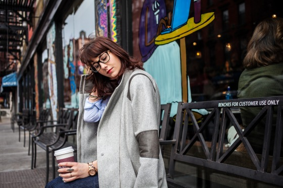 Tiffany & Co. glasses, Calvin Klein coat, Lydia Hudgens photography