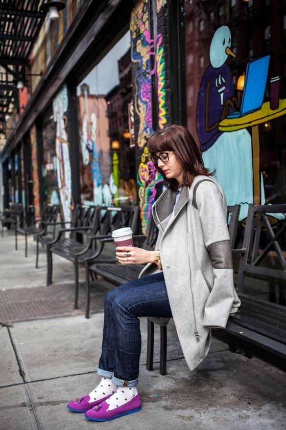 Steve Madden loafers, Lucky Brand jeans, Calvin Klein coat