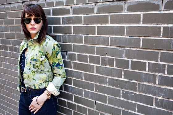 See by Chloe jacket, Ray Ban clubmaster, vintage belt