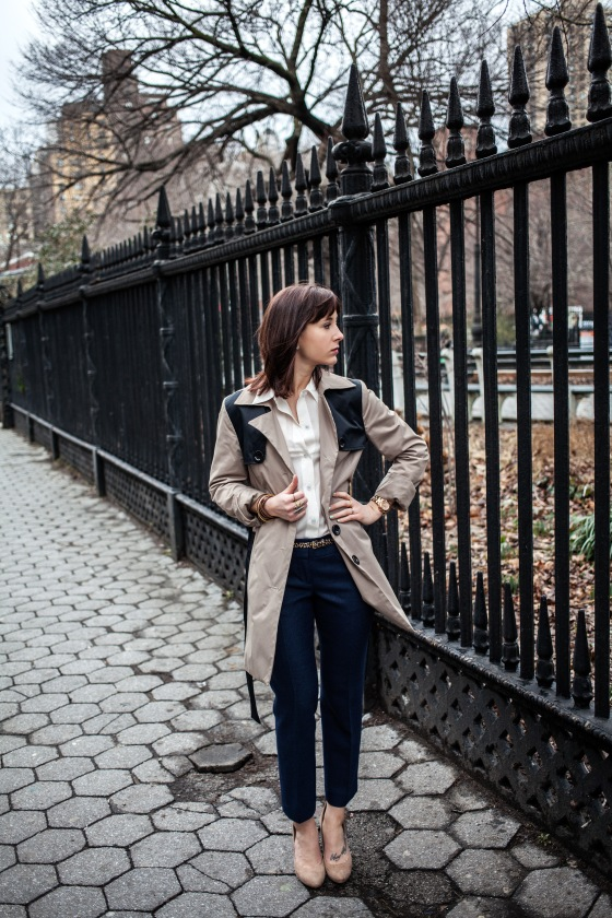 Cynthia Rowley trench, Marc by Marc Jacobs blouse, LOFT trousers
