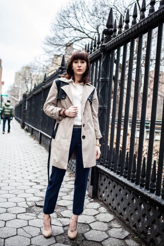 Cynthia Rowley trench coat, LOFT trousers, BCBG pumps