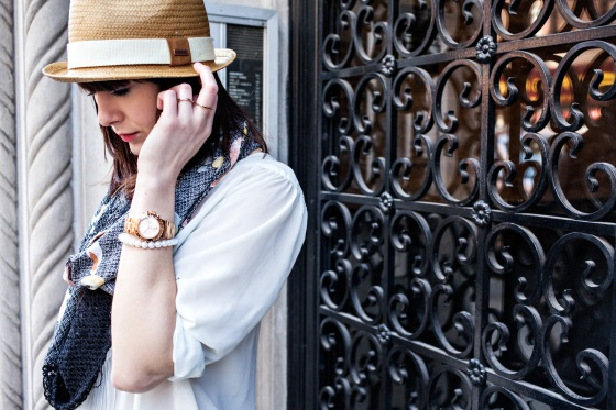 Straw hat, Floral scarf, Michael Kors watch