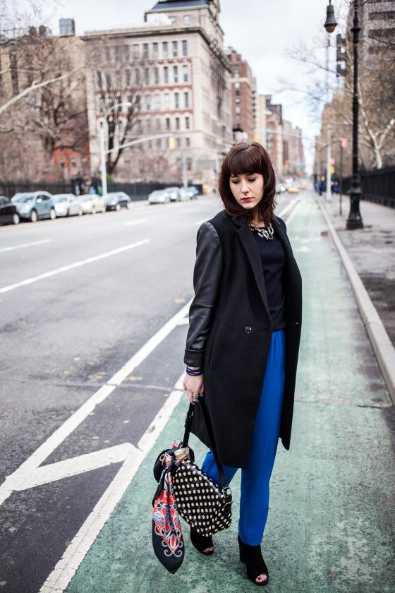 DKNY trousers, Aqua Coat, Kate Spade bag