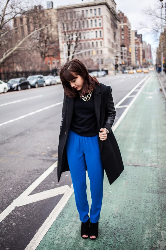 Aqua coat, DKNY trousers, Steve Madden booties