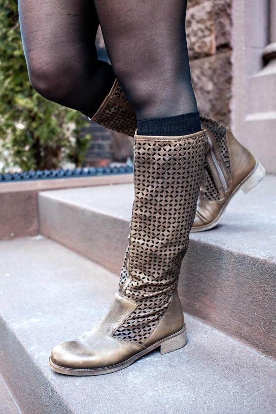 Boutique 9 boots, Nine West socks, Laser-cut Leather