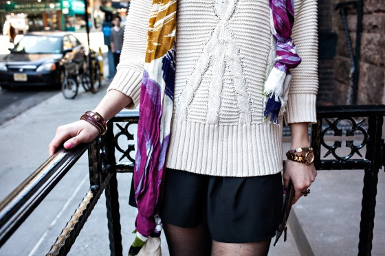 DKNY Sweater, Cynthia Rowley scarf, Michael Kors watch