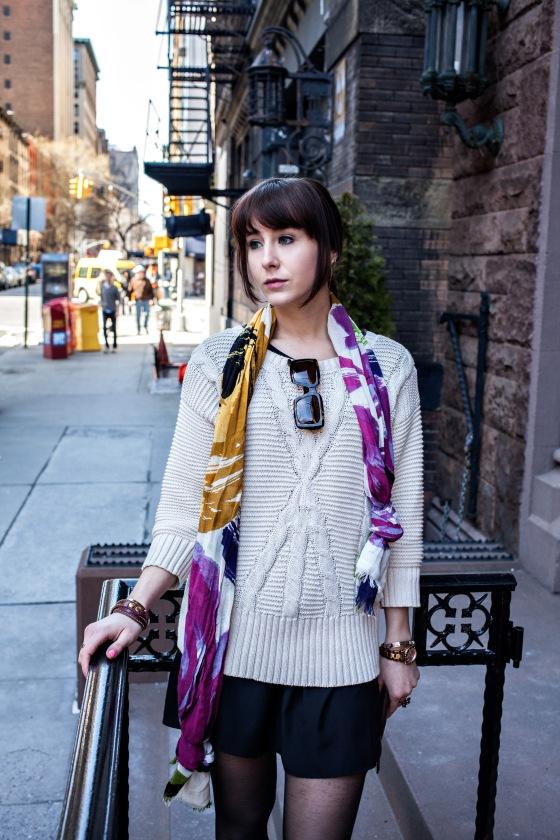 DKNY sweater, Ralph Lauren sunglasses, Cynthia Rowley scarf