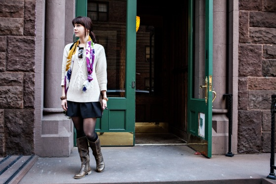 DKNY Sweater, Cynthia Rowley scarf, Boutique 9 boots