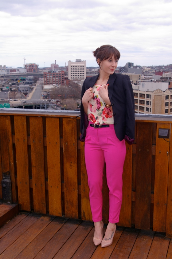 Tahari blazer, Madewell top, H&M pants
