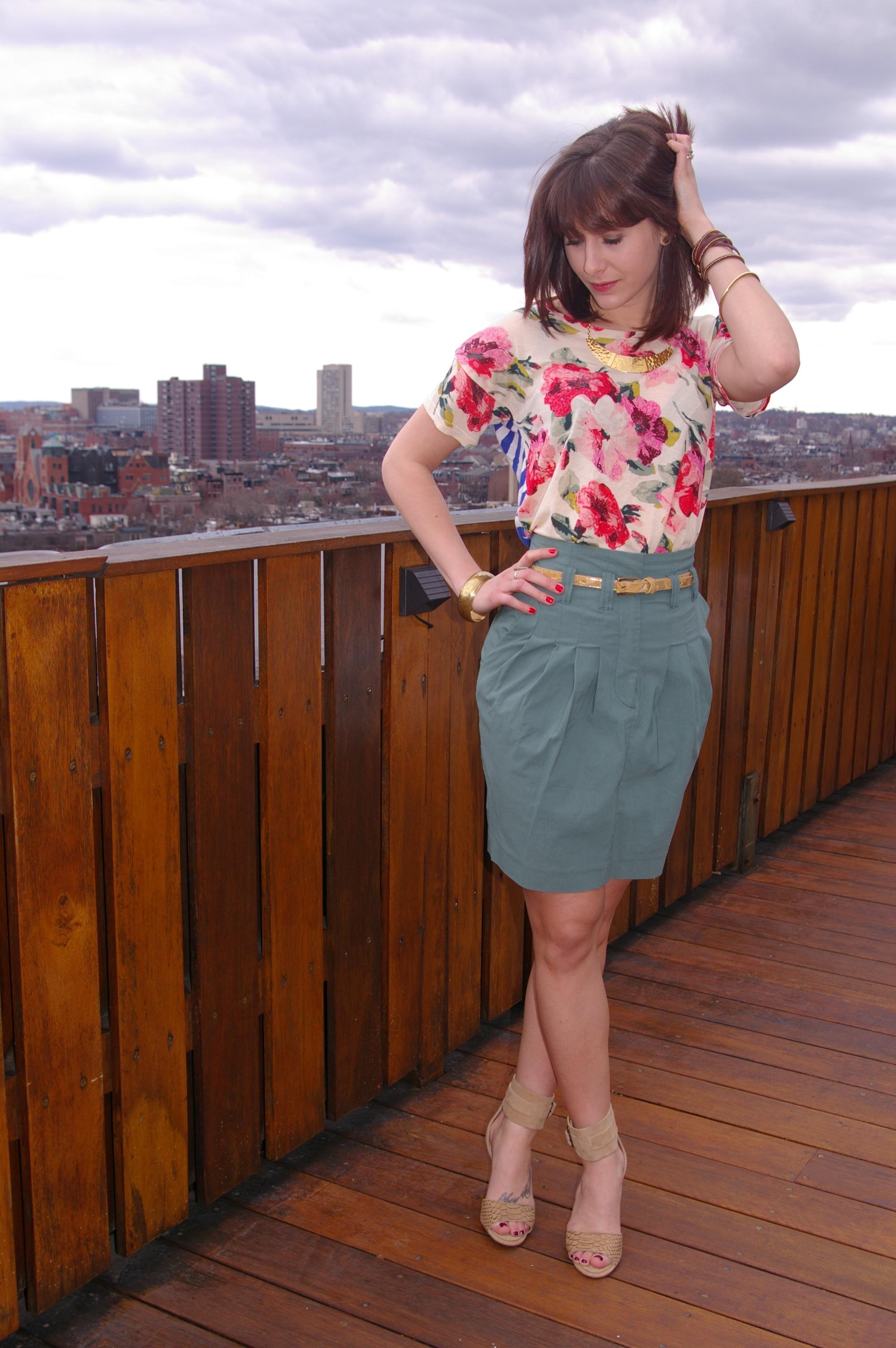 Madewell Tee, H&M skirt, Steve Madden heels