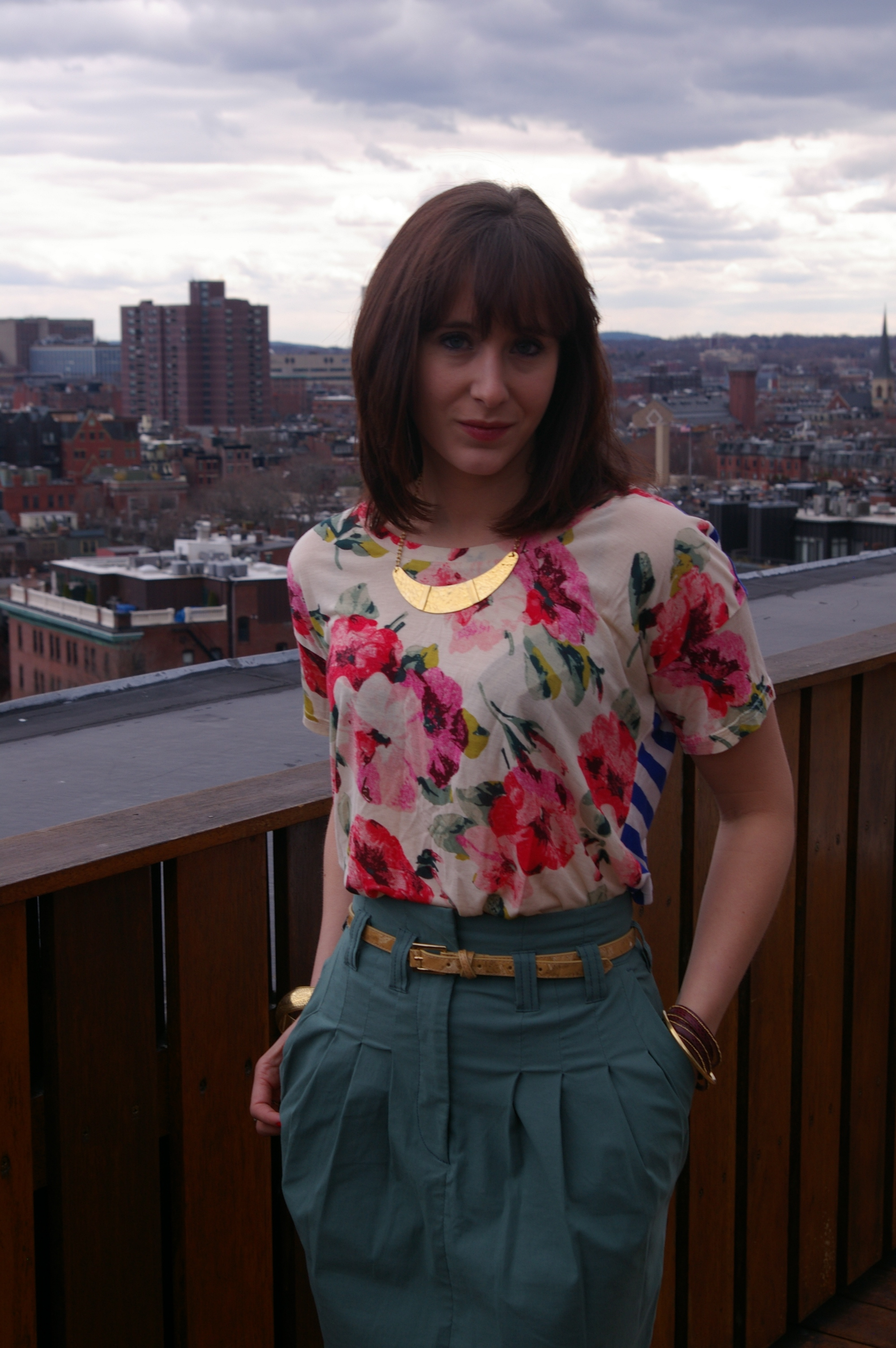 Spring fashion, Madewell tee, H&M skirt