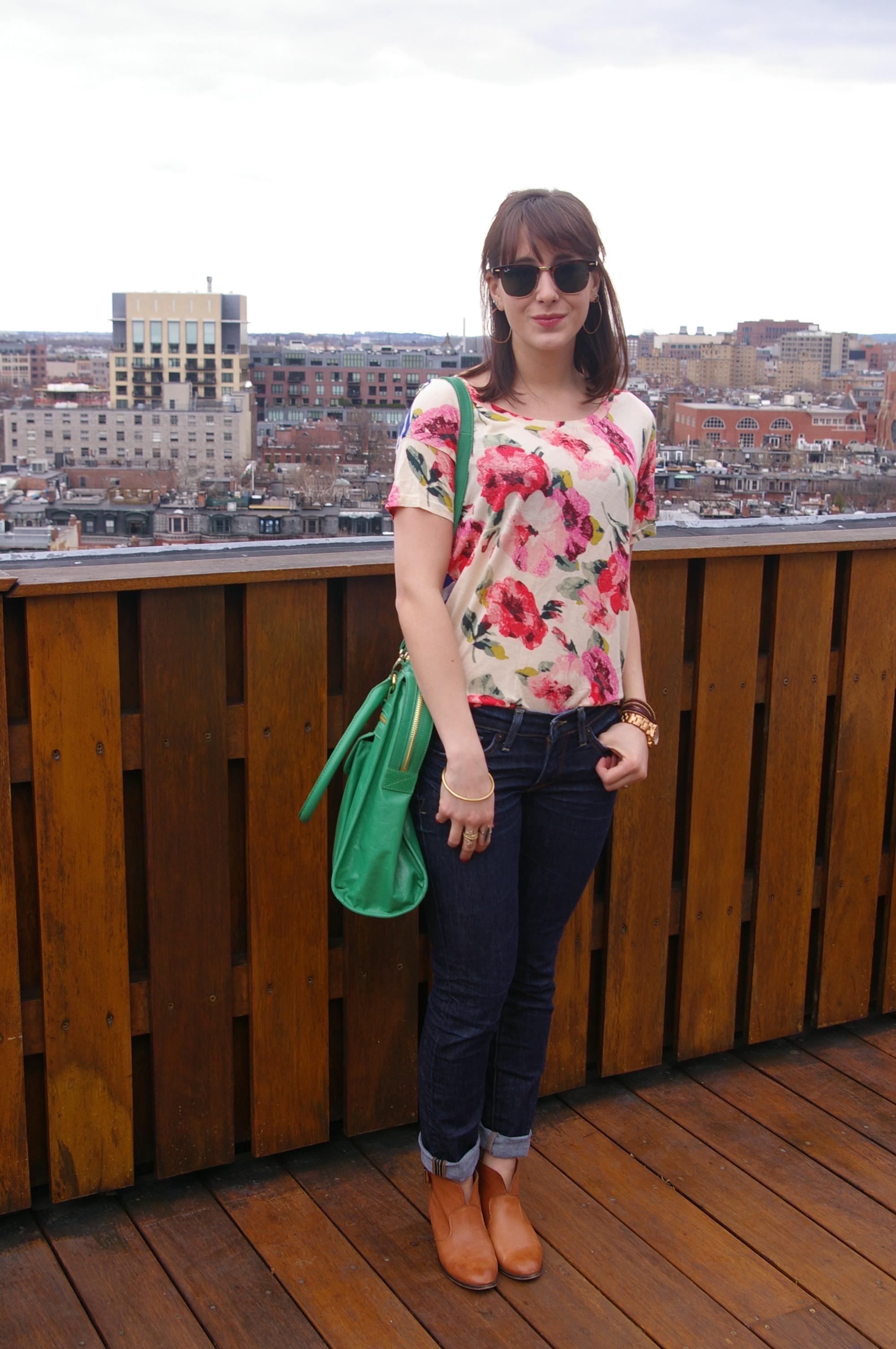 Badgey Mishka bag, Madewell tee, Lucky Brand jeans