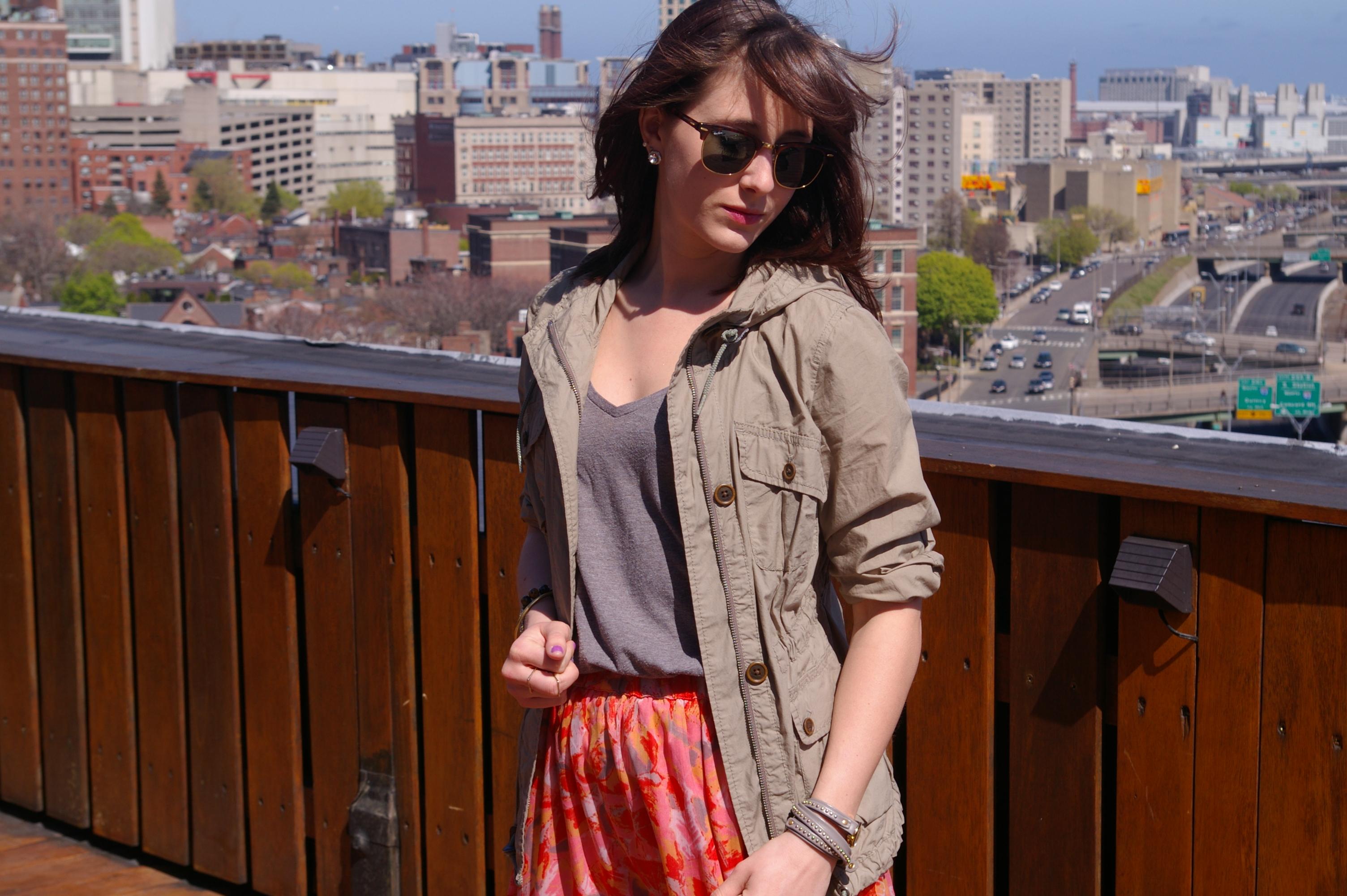 LOFT jacket, floral maxi, Ray-Ban clubmaster