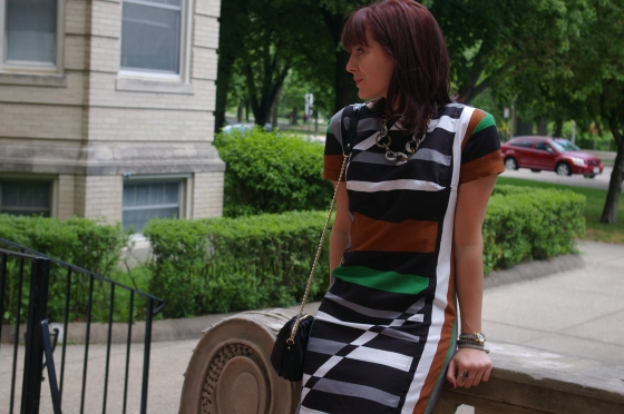 Derek Lam for Kohls dress, Striped dress, Kate Spade bag