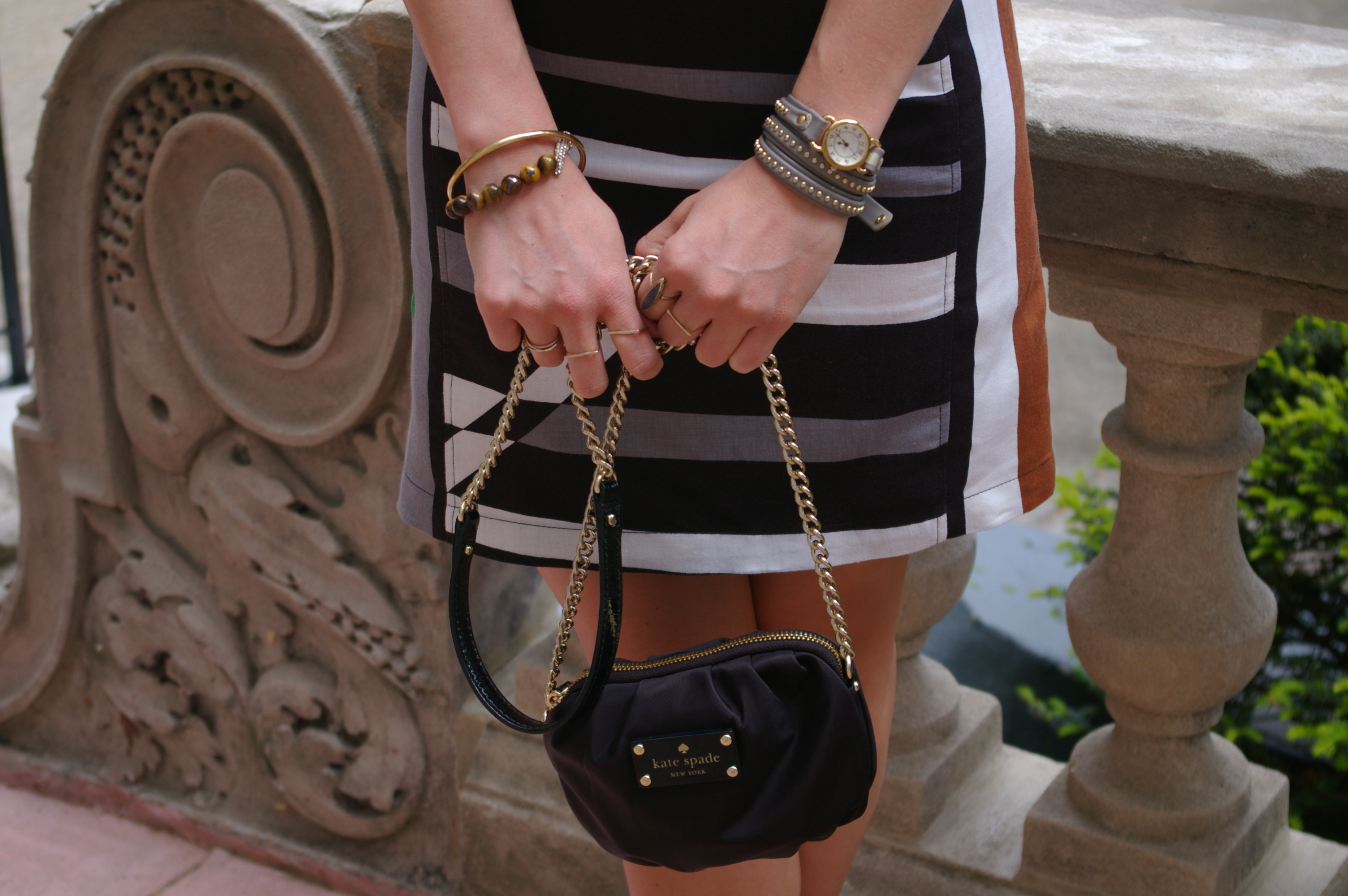 Bauble Bar bracelet, Kate Spade bag, Leather wrap bracelet