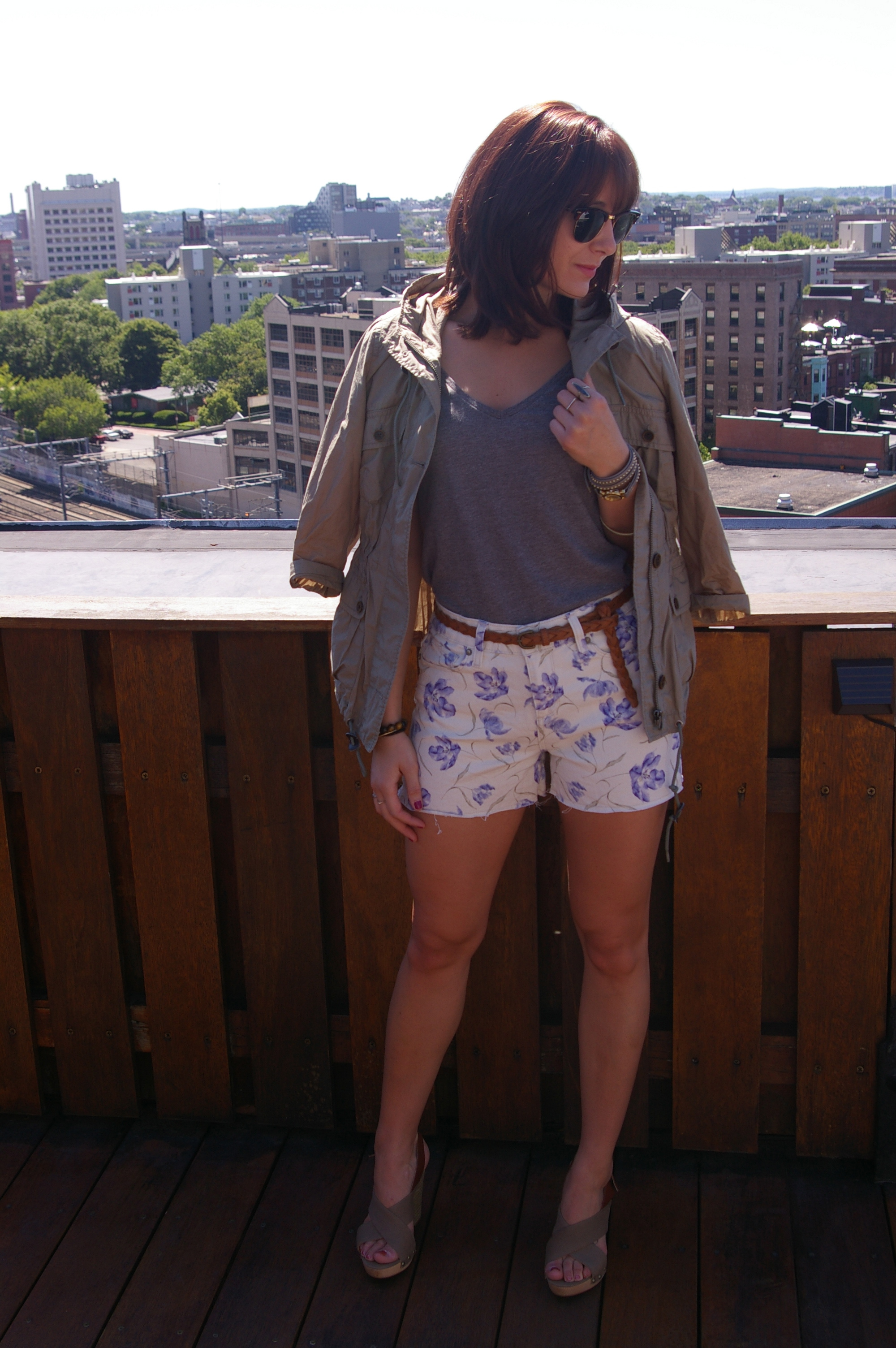 Nine West wedges, Paige Denim floral shorts, Loft anorak