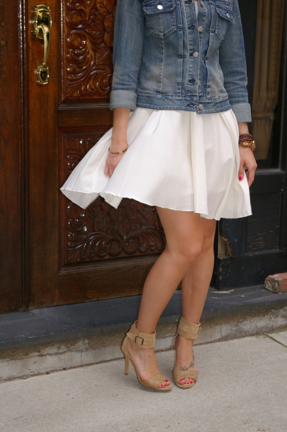 Pleated skirt, Steve Madden sandals, Little white dress
