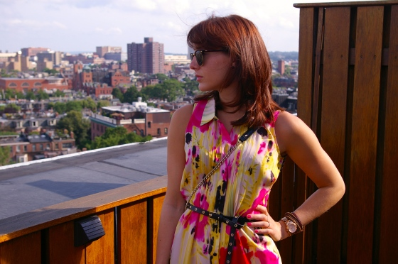 Anthropologie dress, Linea Pelle belt, Ray-Ban clubmaster