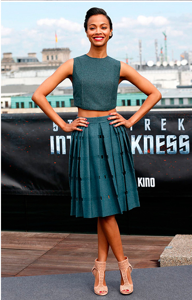 Zoe Saldana, Crop top trend, Red Carpet fashion