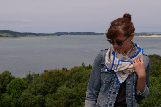 on the water, Ray-ban sunglasses, Madewell scarf
