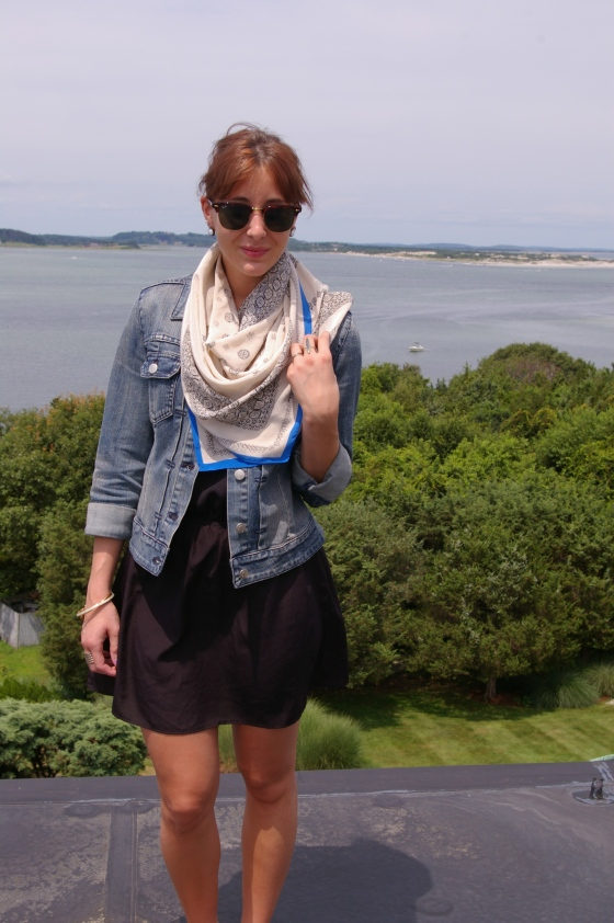 Summer fashion, Madewell scarf, Ray-Ban sunglasses