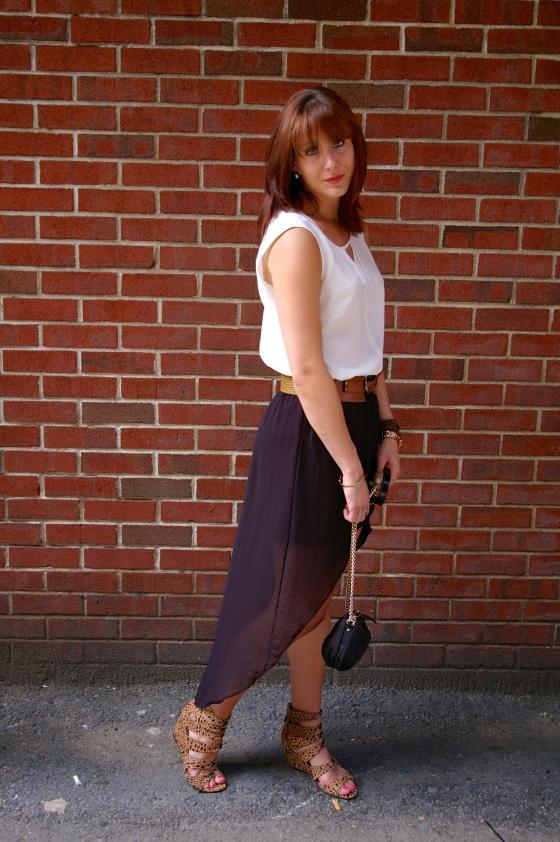 Zara skirt, NIC+ZOE top, Black + white trend