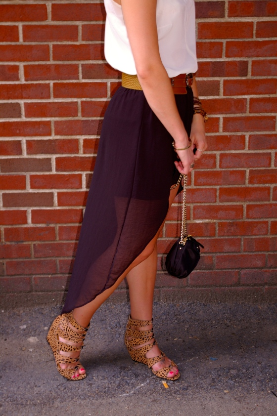 Hi-Low skirt, Zara, Steve Madden leopard wedge