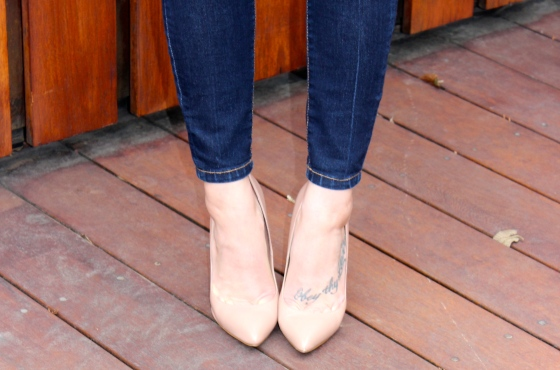 Steve Madden, Black Denim, Nude pumps